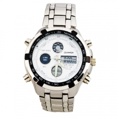 Men's Cool Analog LED Dial Dual Cores Steel Band Waterproof Quartz Wrist Watch silver one size