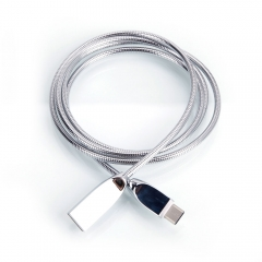 Zinc Alloy Stainless Steel Flexible Hose Type C USB Cable silver