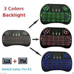 Backlit Mini Wireless Keyboard Remote Control Touchpad i8 For TV BOX PC black
