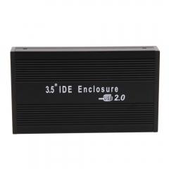 "USB 2.0 3.5"" IDE Aluminum HDD Hard Drive Enclosure External Case Black Durable black one size"