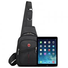 Swiss Travel Hiking Sling Messenger Outdoor Shoulder Crossbody Satchel Chest Bag black one