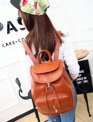 Unisex Fashion Style Casual Pure Pattern PU Leather Backpack brown one size