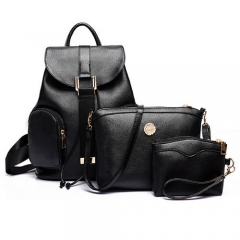 3-Piece Fashionable Profitable Embossing Grain Double Pockets PU Backpack Black black one size