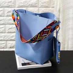 Elegant Retro Style Two-piece PU Portable Bag blue one size