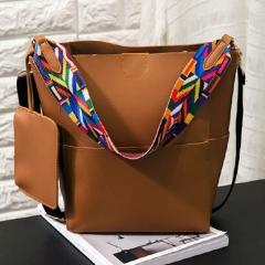 Elegant Retro Style Two-piece PU Portable Bag brown one