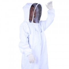 Pro Cotton Beekeeping Suit Coverall Veil with Hat Full Body Smock Bee Keeping L white