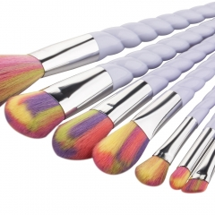 7pcs Exquisite Thread Handle Nylon Fiber Cosmetic Makeup Brushes Kit colorful