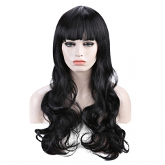 Elegant Long Wave Charming Full Bang Heat Resistant Synthetic Capless Wig For Women BLACK 26 Inch