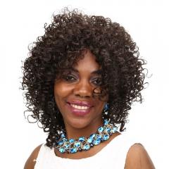 Synthetic Heat Resistant Wig Medium Wavy Brown Hair African Curly Afro BLACK BROWN 35 CM