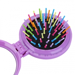 Portable Healthy Rainbow Care Hair Mini Round Massage Comb with Mirror PURPLE One Size