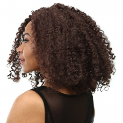 Synthetic Heat Resistant Wig Long Wavy Brown Hair African Curly Afro Deep Brown 40CM