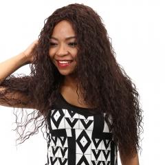 Synthetic Heat Resistant Wig African Long Curly Deep Brown Hair Deep Brown 61CM