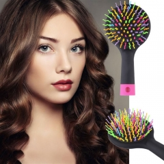 Fashion Manufacturers Rainbow Curly Hair Mirror Comb Tool BLACK One Size