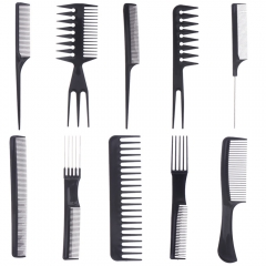 10pcs Make Up Comb Professional Hair Combs Anti Static Hairbrush BLACK One Size