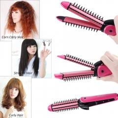 Multifunctional 3 in 1 hair sticks corn clip hair straightener hair comb roll Corn Waver Roller white one size