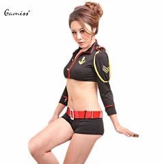 Stewardess Cosplay Costumes Sexy Flight Attendant Clothing Top+Low Waist Shorts With Belt For Women as the picture one size