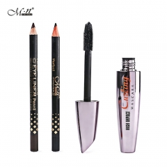 M.n Menow M12002 Professional Waterproof Thick Mascara With Black Coffee 2 Color Eyeliner Sets colormix