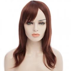 Layered Long Chestnut Straight Tilt Women's Synthetic Wig With Face Side Bang DARK AUBURN 43-47cm