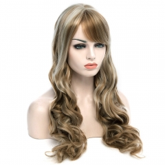 Top Quality Side Bang Fluffy Charming Long Wavy Mixed Color Synthetic Women's Vogue Wig colormix 66cm
