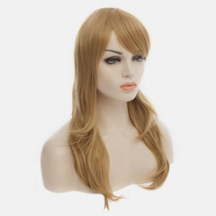 Fluffy Full Bang Blonde Mixed Long Wavy Charming Layered Synthetic Stylish Capless Wig For Women colormix 53cm