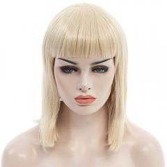 Trendy Neat Bang Medium Straight Synthetic Charming Light Blonde Capless Wig For Women GOLDEN 30cm