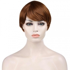 Natural Straight Dynamic  Shaggy Brown Short Inclined Bang Capless Synthetic Wig For Women as the picture 29cm