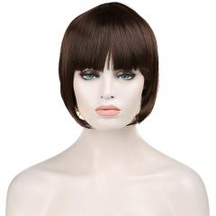 Sweet Bob Full Bang Nobby Heat Resistant Fiber Short Capless Straight Brown Women's Wig BROWN 30cm