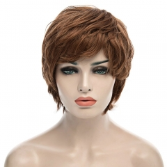 Fluffy Fashion Inclined Bang Natural Wavy Human Hair Short Layered Capless Women's Wig as the picture 20cm