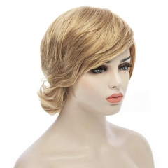 Elegant Fluffy Natural Wavy Side Bang Short Real Human Hair Capless Daily Wig For Women as the picture 32cm