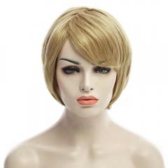 Charming Fluffy Natural Wavy Side Bang Short Capless Real Human Hair Wig For Women brown 20cm