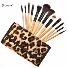 Gamiss 12pcs Professional Makeup Brushes Set Powder Makeup Eyes Lips Brush with Fashion Storage Bag as the picture