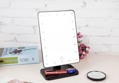 Fashion 180 Rotating Mirror Portable Folding Table 20 LEDs Lamp Luminous Make-up Cosmetic Mirror black