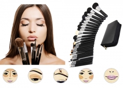 29pcs Professional Brush Eyebrow Women Cosmetic Tool Makeup Brush Set with Black Leather Case black