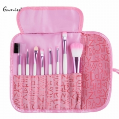 Professional 8 Pcs Makeup Brush Set With Letter Print Pink Bag New Arrival Powder Face Brush as the picture