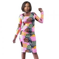 Cherry Couture Neon Animal Print Long  Sleeve Midi Dress Neon Print S