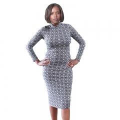 Marietta Black Circle Print Long Sleeve Turtle Neck Midi Dress Black S