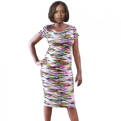 Violet Neon Tiger Cap Sleeve Midi Dresses  New Summer Prints! Neon Print S