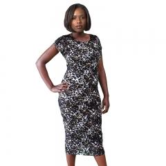 New Leopard Check Print Cap Sleeve Midi Dress Animal Print S