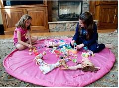 Portable child toy storage bag pink