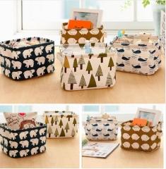 Cute Linen Desk Storage Box Holder Jewelry Cosmetic Stationery Organizer random
