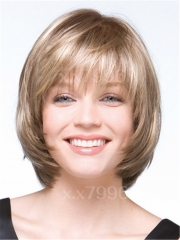 Sexy Ladies Short Bob Blonde Natural Straight Cosplay Party Hair Women's Wigs+cap sw0016