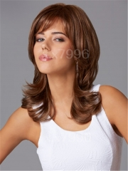 New Fashion Women's Medium Brown Natural Straight Cosplay Synthetic Hair Full Wigs + cap sw0038 Brown Medium