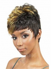 Sexy Women's Short Straight Natural Layered Cosplay Costume Hair Full Wigs + free wig cap sw0200 Brown Medium