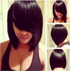 Virgin Short Straight Bob Black Synthetic Hair Cosplay Costume Party Women's Wigs + cap sw8046-1b Black Medium