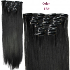 16clips 6piece/set hair piece clip in hair extensions heat resistant straight synthetic D1014 1B 24