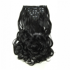 "20"" 16clips 7piece/set hair piece clip in hair extensions curly heat resistant synthetic D1016 160g 1B 20"