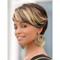 Short Straight Synthetic Wigs for Black Women Layered Cosplay Women's Wig + free wig cap sw8023 brown medium