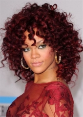 Female Afro Curly Synthetic Wigs for Black Women Red Brown Heat Resistant False Hair + cap sw8029 red brown medium