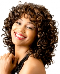 Sexy Virgin Short Afro Kinky Curly Natural Brown Synthetic Hair Women's Cosplay Wig + wig cap sw8840 brown medium