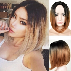 Women Short Straight Bob Hair High Quality Wig Synthetic With Bang+Free Wig Cap Wyb brown medium
